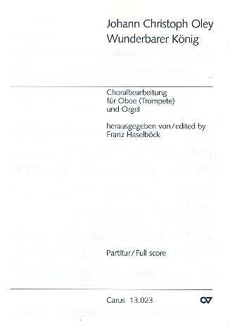 Wunderbarer König: Choralbearbeitung für Oboe (Trompete) und Orgel
