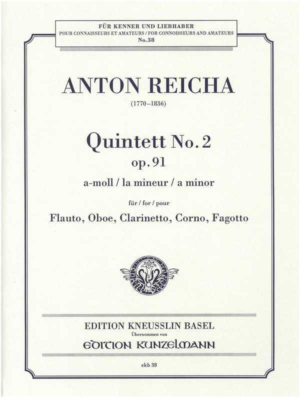 Quintett a-moll opus.91,2: für Flöte, Oboe, Klarinette, Horn und Fagott