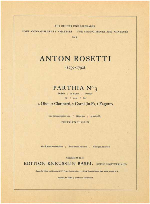 Parthia D-Dur Nr.3: für 2 Oboen, 2 Klarinetten (A), 2 Hörner (F) und