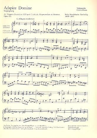 Adspice domine opus.121: Vespergesang für Soli (TTBB), Männerchor und Baß
