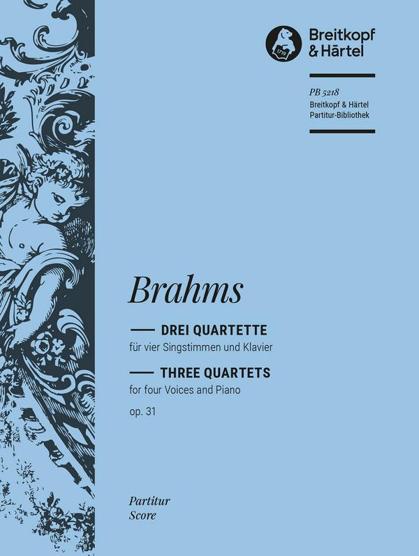 3 Quartette opus.31: für 4 Singstimmen (SATB) und Klavier