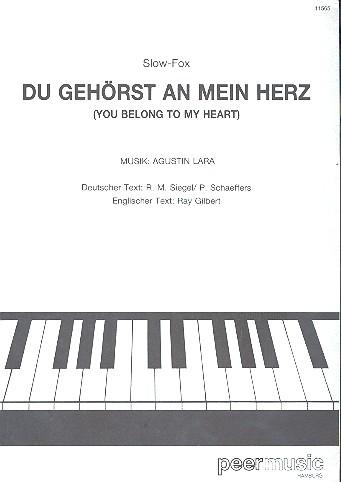 Du gehörst an mein Herz: Einzelausgabe Gesang und Klavier