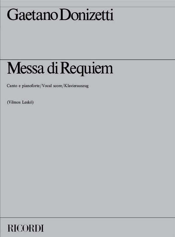 Donizetti, Gaetano - Messa di Requiem : Klavierauszug (en/la)