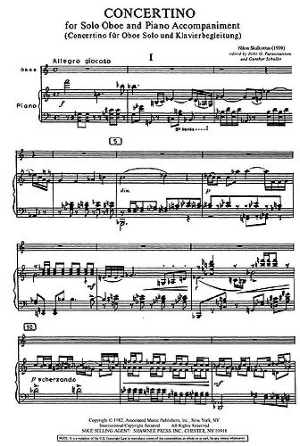 Skalkottas, Nikos - Concertino : for oboe and piano