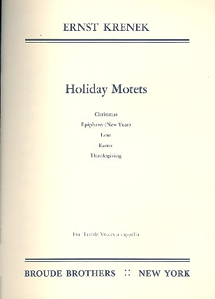 5 Holiday Motets: for female chorus a cappella
