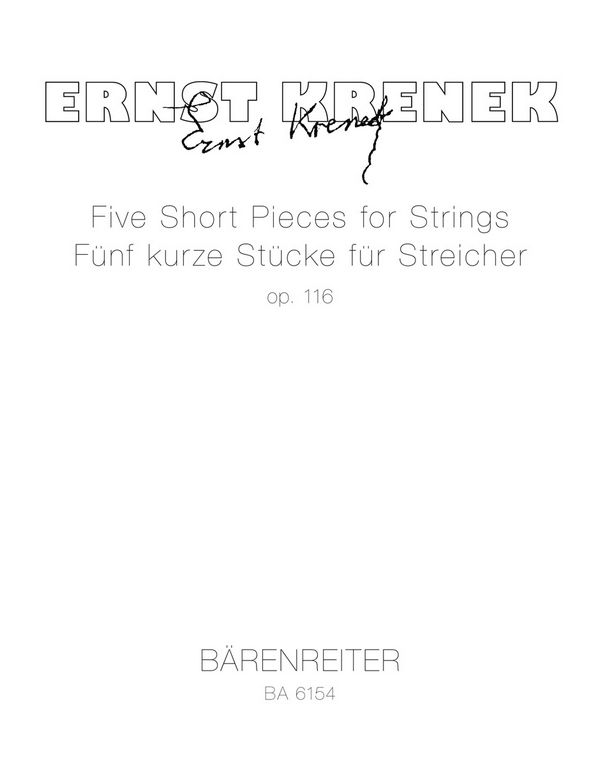 5 SHORT PIECES opus.116: FOR STRINGS STUDIENPARTITUR (1948)