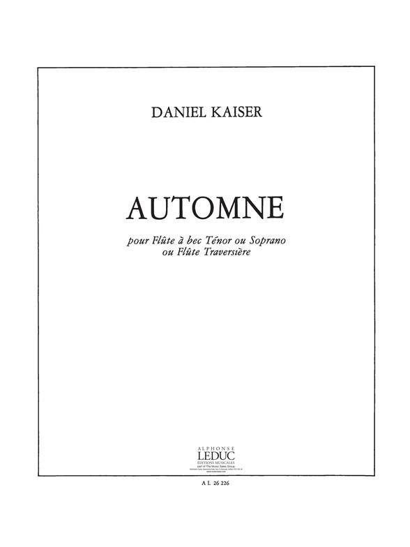 Automne: pour flute a bec tenor ou soprano ou flute traversiere