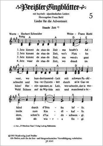 Preissler Singblaetter 5: Lieder für die Adventszeit, 3-stimmig