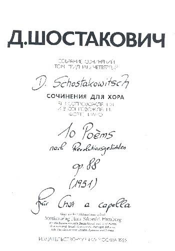 10 Poemes opus.88 auf Texte revolutionärer Dichter für gem Chor