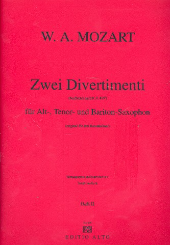 2 Divertimenti nach KV439b: für 3 Saxophone (ATB)