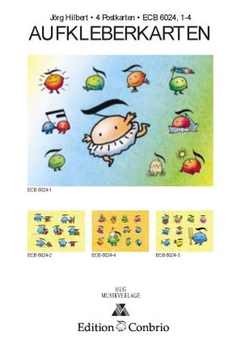 Aufkleberkarten: 4 Postkarten mit Aufklebern