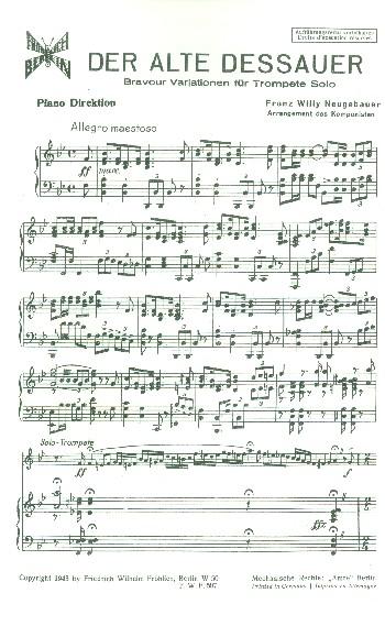 Der alte Dessauer: für Trompete und Klavier