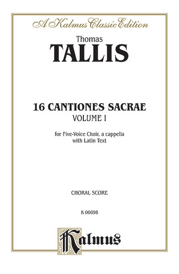 16 cantiones sacrae vol.1 (1-8): for 5 voice chorus a cappella