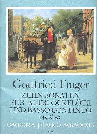 10 Sonaten opus.3 Band 1 (Nr.1-5): für Altblockblockflöte und Bc