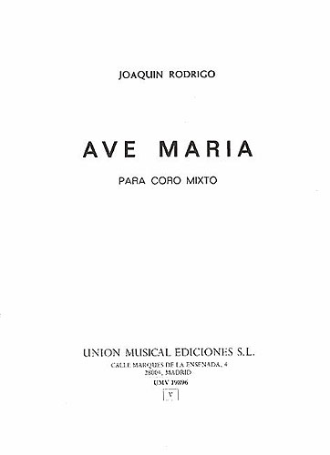 Ave Maria: for mixed chorus score