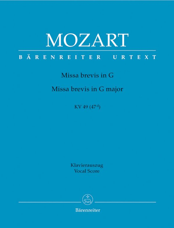 Missa brevis G-Dur KV49: für Soli, gem Chor und Orchester
