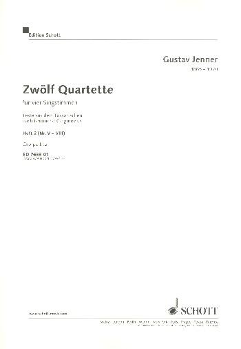 12 Quartette Band 2 (Nr.5-8): für 4 Singstimmen und klavier