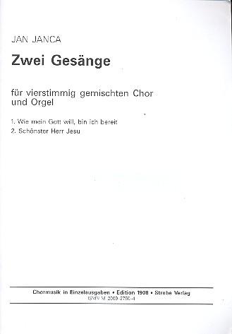 2 Gesänge: für gem Chor und Orgel