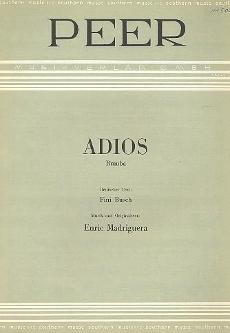 Adios: Einzelausgabe für Gesang und Klavier