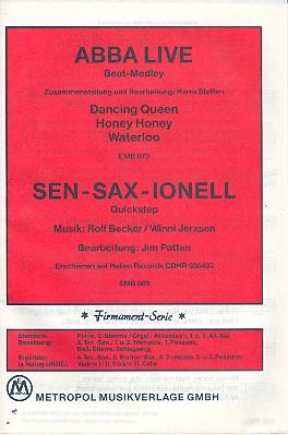 Abba live Beat-Medley - Sen-Sax-Ionell: für Salonorchester