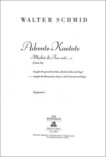 Advents-Kantate: für Soli, Männerchor und Orgel