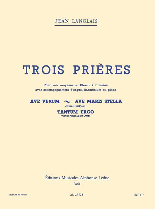 3 prieres no.1: pour voix moyenne et orgue (harm/pno)