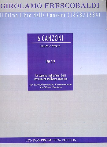 6 canzonas: for treble instrument, bass instrument and basso continuo