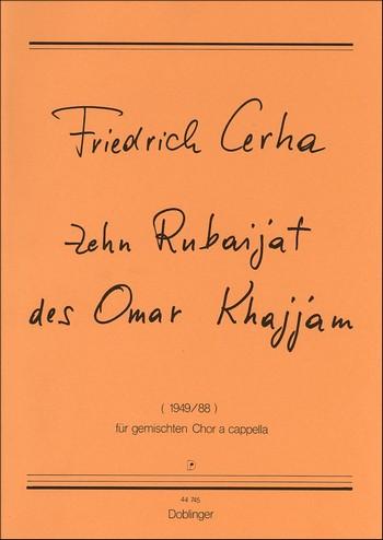10 Rubaijat des Omar Khajjam: für gem Chor a cappella