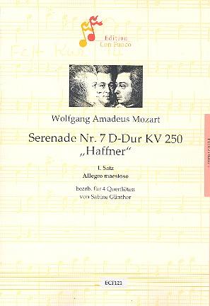 1. Satz aus der Serenade D-Dur Nr.7 KV250: für 4 Flöten