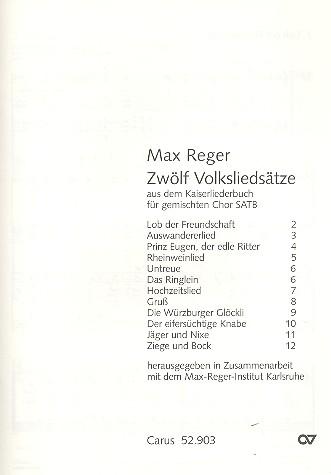 12 Volksliedsätze aus dem Kaiserliederbuch: für gem Chor a cappella