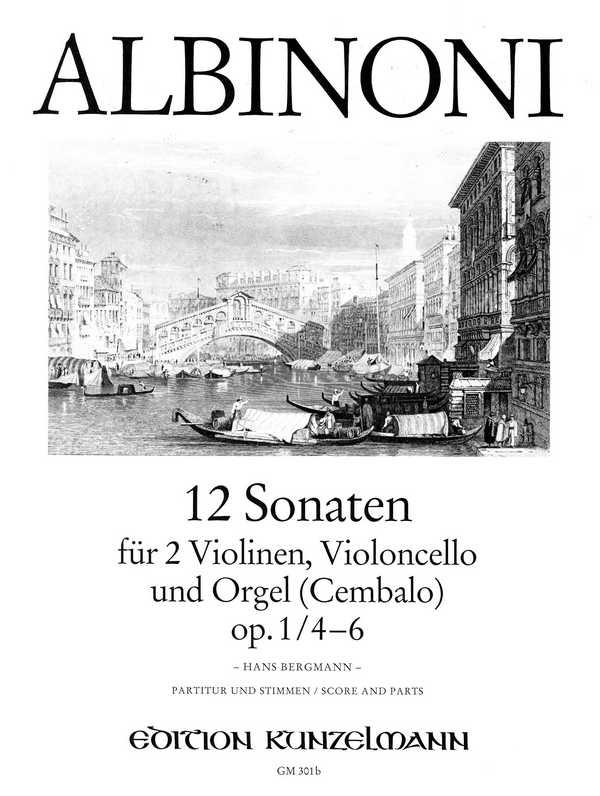 12 Sonaten opus.1 Band 2 (Nr.4-6): für 2 Violinen, Violoncello und Orgel