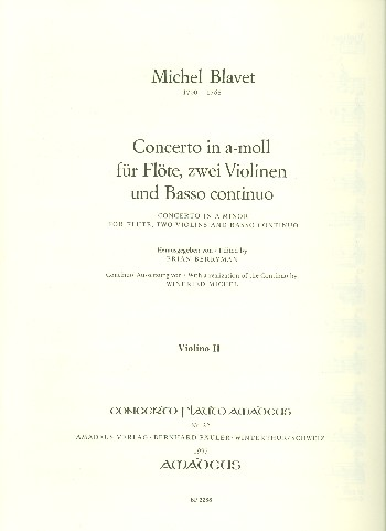 Concerto a-Moll: für Flöte, 2 Violinen und bc
