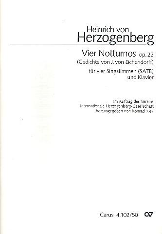 4 Notturnos opus.22: für gem Chor und Klavier Partitur