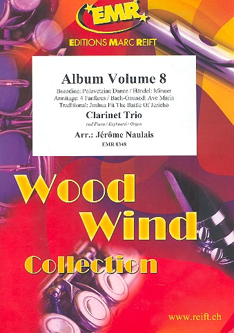Album vol.8: for 3 clarinets and piano (keyboard/organ) (percussion ad lib)
