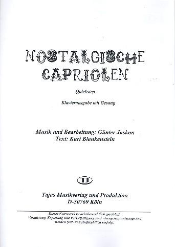 Nostalgische Capriolen: für Gesang und Combo