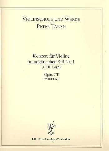 Konzert im ungarischen Stil Nr.1 opus.7f: für Violine und Klavier