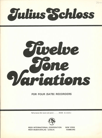 12 Tone Variations: for 4 recorders SATB)