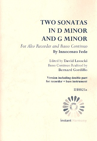 Fede, Innocenzo - 2 Sonatas : for alto recorder and Bc