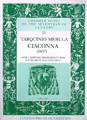Merula, Tarquinio - Ciaconna : for 2 soprano instruments,