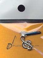 Amulett für Klinkenstecker 3.5mm Violinschlüssel silber (für Handy/Smartphone/Tablet etc.)