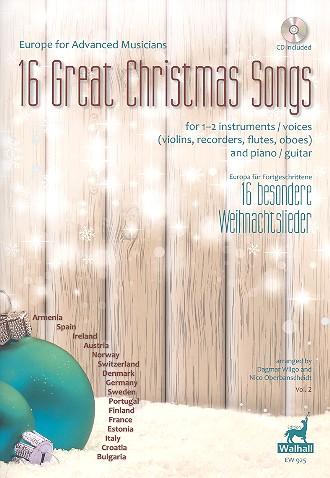 16 besondere Weihnachtslieder (+CD): für 1-2 Instrumente (Stimmen) und Klavier (Gitarre)