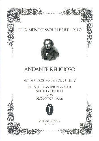 Andante religioso aus Sonate Nr.4 opus.65: für Streichquartett
