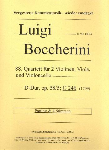 Quartett D-Dur Nr.88 opus.58,5 G246: für 2 Violinen, Viola und Violoncello
