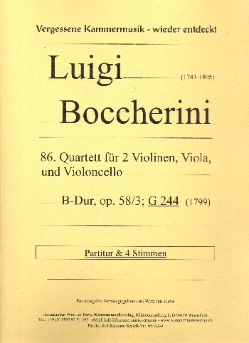 Quartett B-Dur Nr.86 opus.58,3 G244: für 2 Violinen, Viola und Violoncello