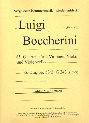 Quartett Es-Dur Nr.85 opus.58,2 G243: für 2 Violinen, Viola und Violoncello