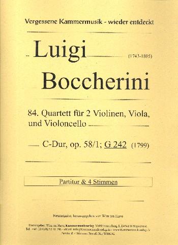 Quartett C-Dur Nr.84 opus.58,1 G242: für 2 Violinen, Viola und Violoncello