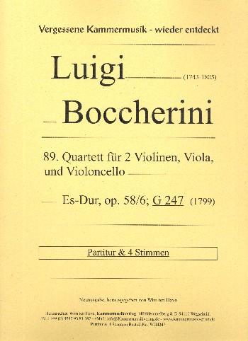 Quartett Es-Dur Nr.89 opus.58,6 G247: für 2 Violinen, Viola und Violoncello