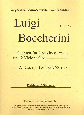 Quintett A-Dur Nr.1 opus.10,1 G265: für 2 Violinen, Viola und 2 Violoncelli