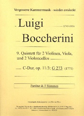 Quintett C-Dur Nr.9 opus.11,3 G273: für 2 Violinen, Viola und 2 Violoncelli