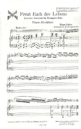 Freut euch des Lebens: für Trompete und Klavier